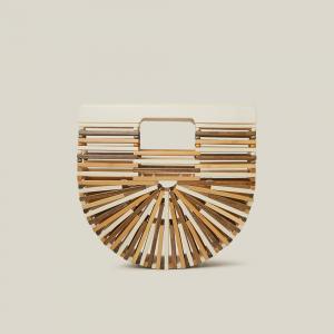 Cult Gaia Brown Tonal Wood Mini Arc Bag