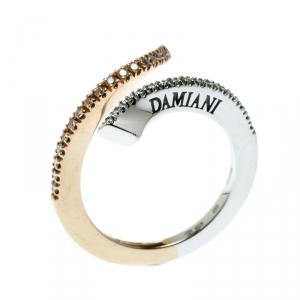 Damiani Eden Diamond Two Tone 18k Gold Open Ring Size 55