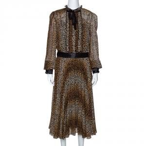 D&G Brown Leopard Print Silk Long Sleeve Midi Dress L