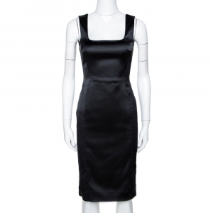 D&G Black Stretch Satin Sleeveless Fitted Dress S