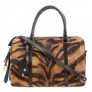 D&G Brown Animal Print Pony Hair and Leather Triple Zipper Top Handle Shoulder Bag