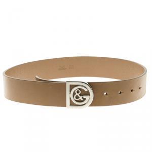 D&G Brown Leather Buckle Belt 70cm