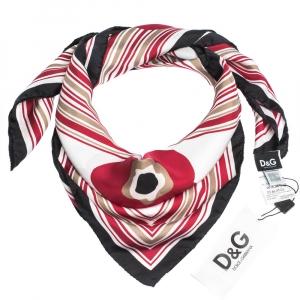 D&G Red Poppy Print Silk Scarf