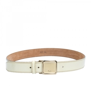 D&G Ivory Patent Leather Square Logo Buckle Belt 90CM