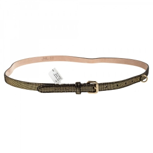 D&G Gold/Black Patent Leather and Suede Skinny Chain Belt 90CM