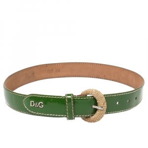 D&G Green Patent Leather Belt 80 CM