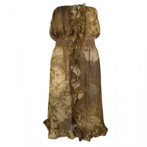 D&G Brown Tie-Dye Printed Silk Ruffle Detail Strapless Dress M