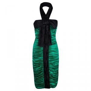 D&G Green Silk Ruched Halter Dress M