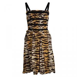 D&G Animal Print Smocked Sleeveless Dress M