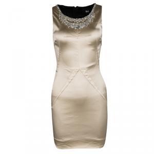 D&G Beige Embellished Sleeveless Satin Dress S - used