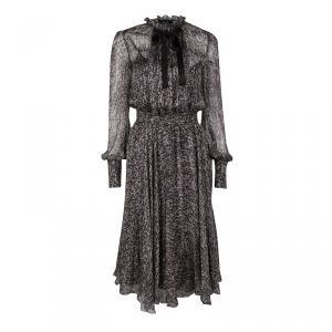 D&G Sequin Printed Silk Chiffon Long Sleeve Midi Dress S