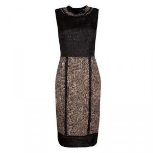 D&G Brown and Black Textured Sleeveless Dress M