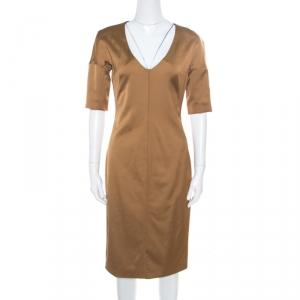 D&G Brown Short Sleeve V-Neck Dress M