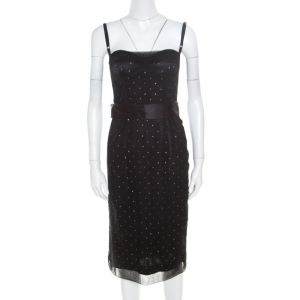 D&G Black Crystal Embellished Tulle Belted Bustier Dress M