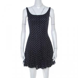D&G Navy Blue and White Printed Crepe Sleeveless Skater Dress S - used