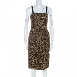 D&G Black Tulle and Gold Confetti Embellished Cocktail Dress S - used
