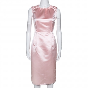 D&G Light Pink Satin Sleeveless Sheath Dress M - used
