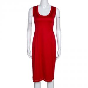 D&G Red Stretch Cotton Sleeveless Midi Dress XL - used