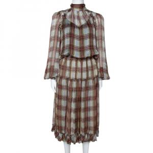 D&G Grey Plaid Print Silk Ruffled Midi Dress M - used