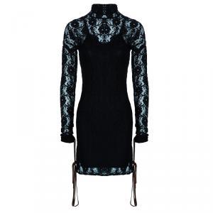 D&G Black Lace High Neck Dress S