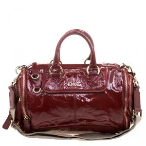 D & G Red Patent Leather Emy Satchel