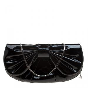 D&G Black Patent Leather Bubbles Clutch Bag