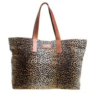D&G Brown Leopard Print Canvas Shopper Tote