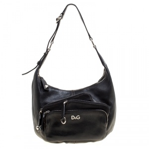 D&G Black Leather Lea Mindy Pocket Hobo