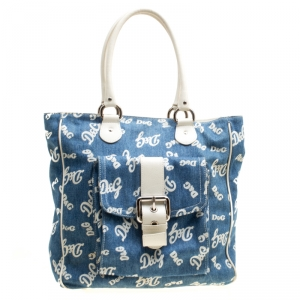 D&G Blue/White Denim and Leather Tote