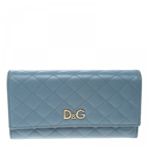 D&G Baby Blue Quilted Leather Tri Fold Continental Wallet