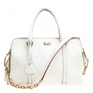 D&G White Leather Triple Shoulder Bag