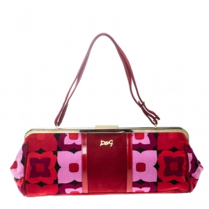 Dolce and Gabbana Multicolor Suede and Fabric Floral Frame Satchel