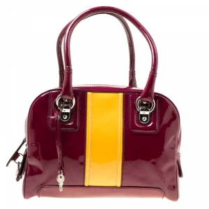 D&G Burgundy/Yellow Patent Leather Lily Stripe Bowler Bag