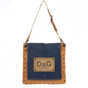 D and G Brown Leather and Denim Messenger Bag