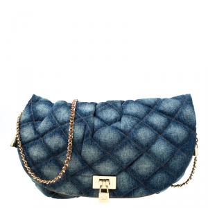 Dolce & Gabbana Quilted Denim Flap Lock Bodybag