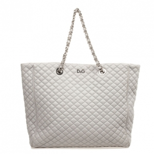 D&G Grey Quilted Lily Glam Tote Bag