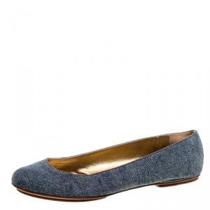 D and G Blue Denim Ballet Flats Size 38
