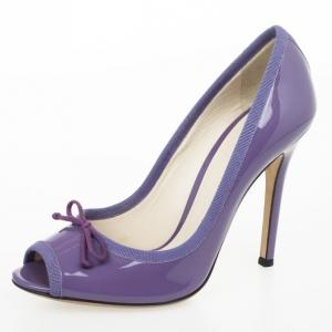 D&G Purple Patent Bow Peep Toe Pumps Size 38.5