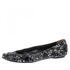 Dolce & Gabbana Black Satin Crystal Embellished Ballet Flats Size 36.5