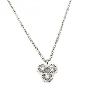 De Beers Diamond & 18k White Gold Pendant Necklace