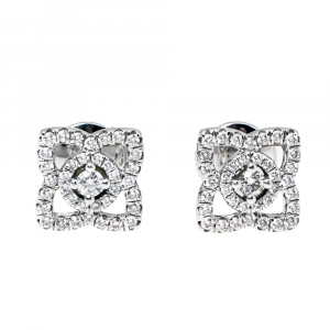 De Beers Enchanted Lotus Diamond 18K White Gold Stud Earrings