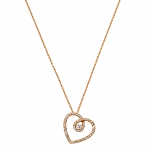 De Beers Classic Heart Diamond 18K Rose Gold Pendant Necklace