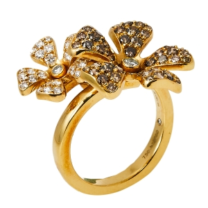 DeBeers Wildflower Diamond 18K Yellow Gold Double Flower Ring Size 54