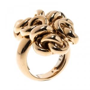 De Grisogono Interlocking Circles 18k Rose Gold Cocktail Ring Size 54