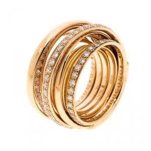 De Grisogono Allegra Pave Diamond 18k Rose Gold Cocktail Ring Size 50.5