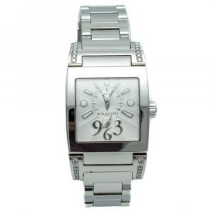 De Grisogono White Dial Tino Acier Steel Diamond Bracelet Women's Watch 28 MM