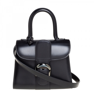 Delvaux Black Leather Mini Le Brillant Top Handle Bag