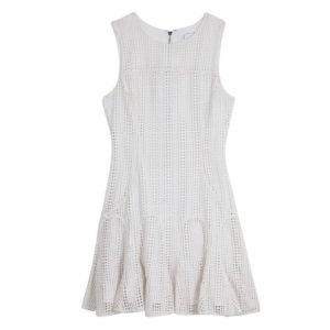 10 Crosby Derek Lam Crochet White Tulip Hem Dress M