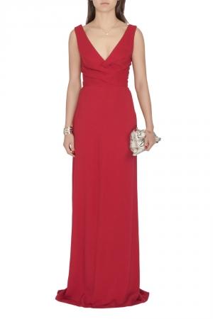 Derek Lam Burgundy Criss Cross Pleated Bodice Sleeveless Gown XS used