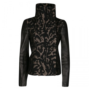 Diane Von Furstenberg Black Animal Patterned Leather Sleeve Detail Marvela Jacket M